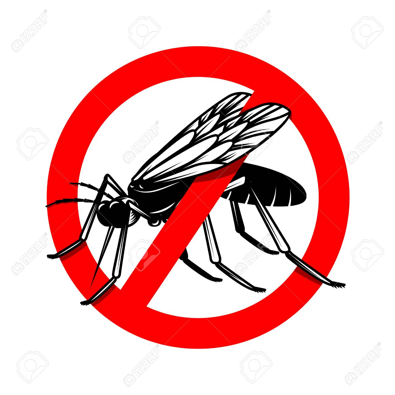 Mosquito danger sign template  Design element for poster, card,