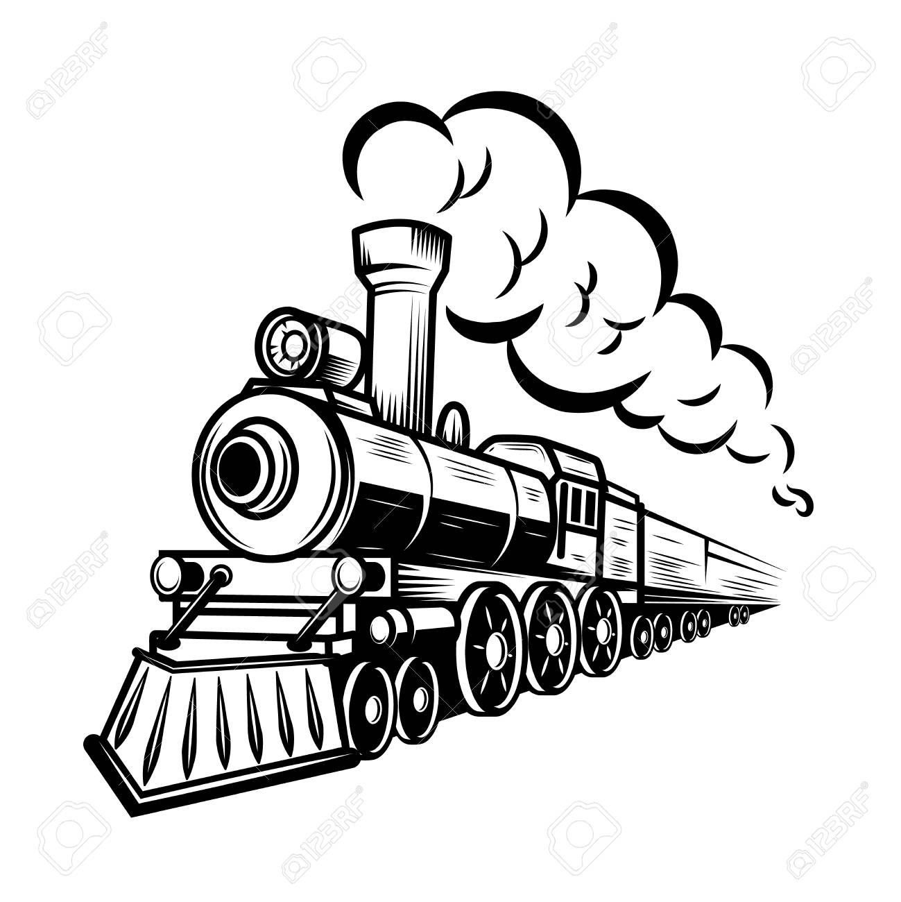Retro Train Illustration Isolated On White Background Design Stock Photo Picture And Royalty Free Image Image 105217989