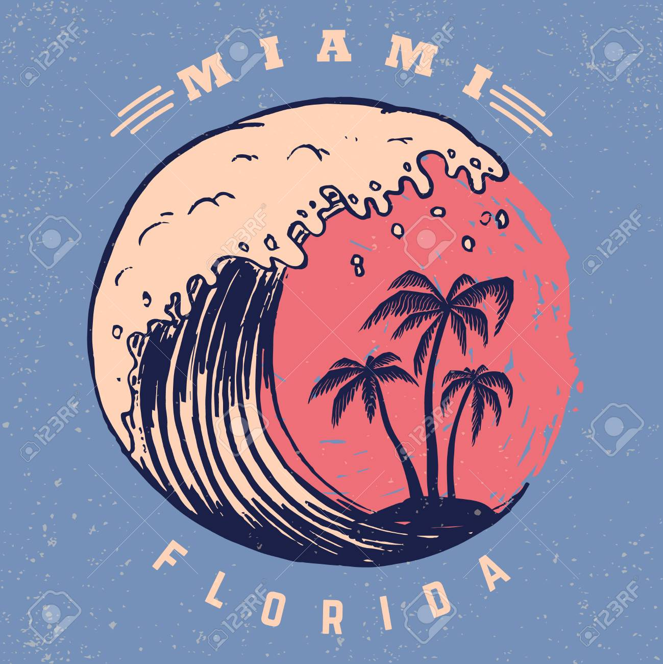 Miami. Poster template with lettering and palms. Vector image - 105948371