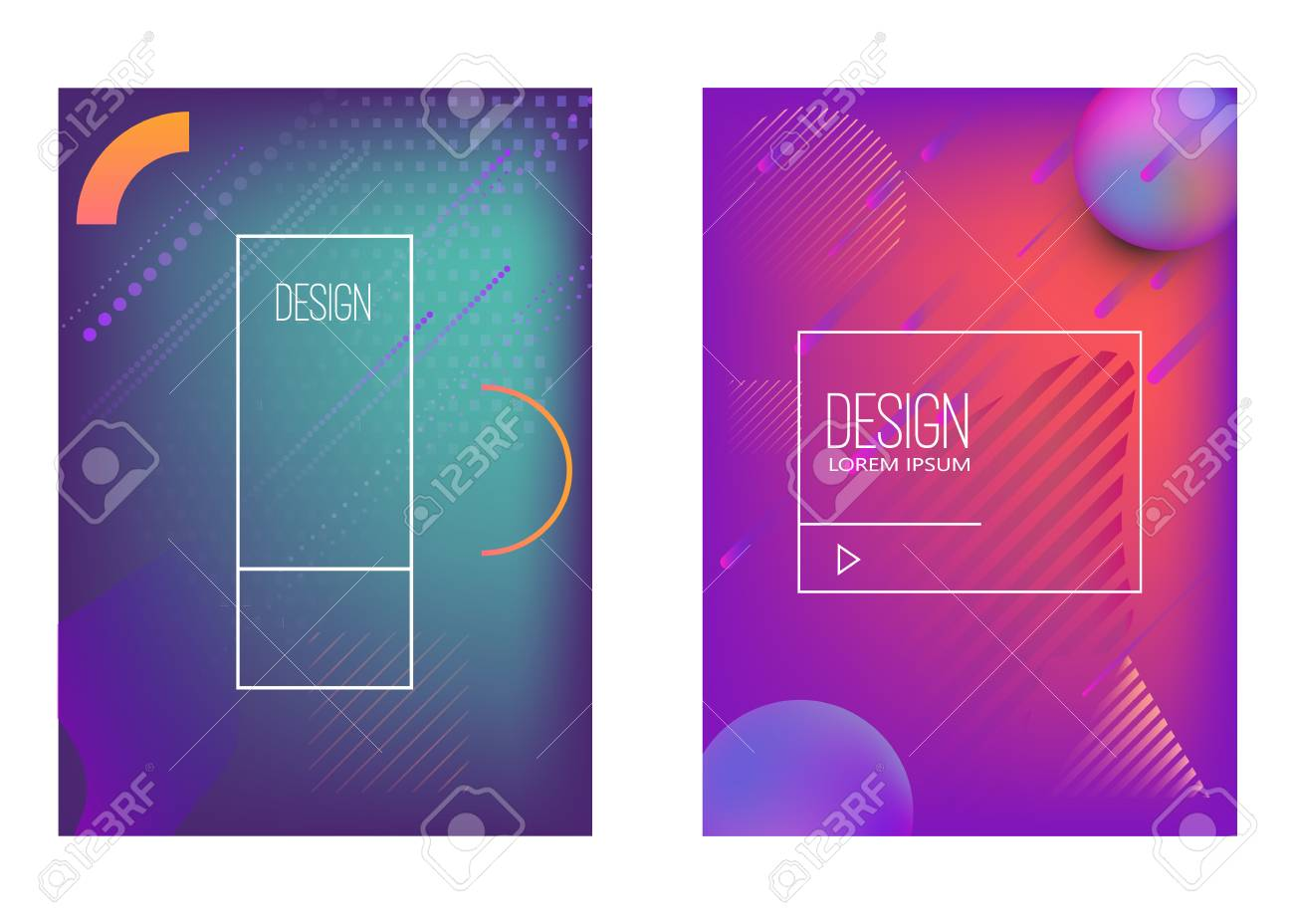 Set of banner design templates with abstract vibrant gradient shapes. Design element for poster, card, flyer,presentation, brochures,cover. Vector image - 105948661