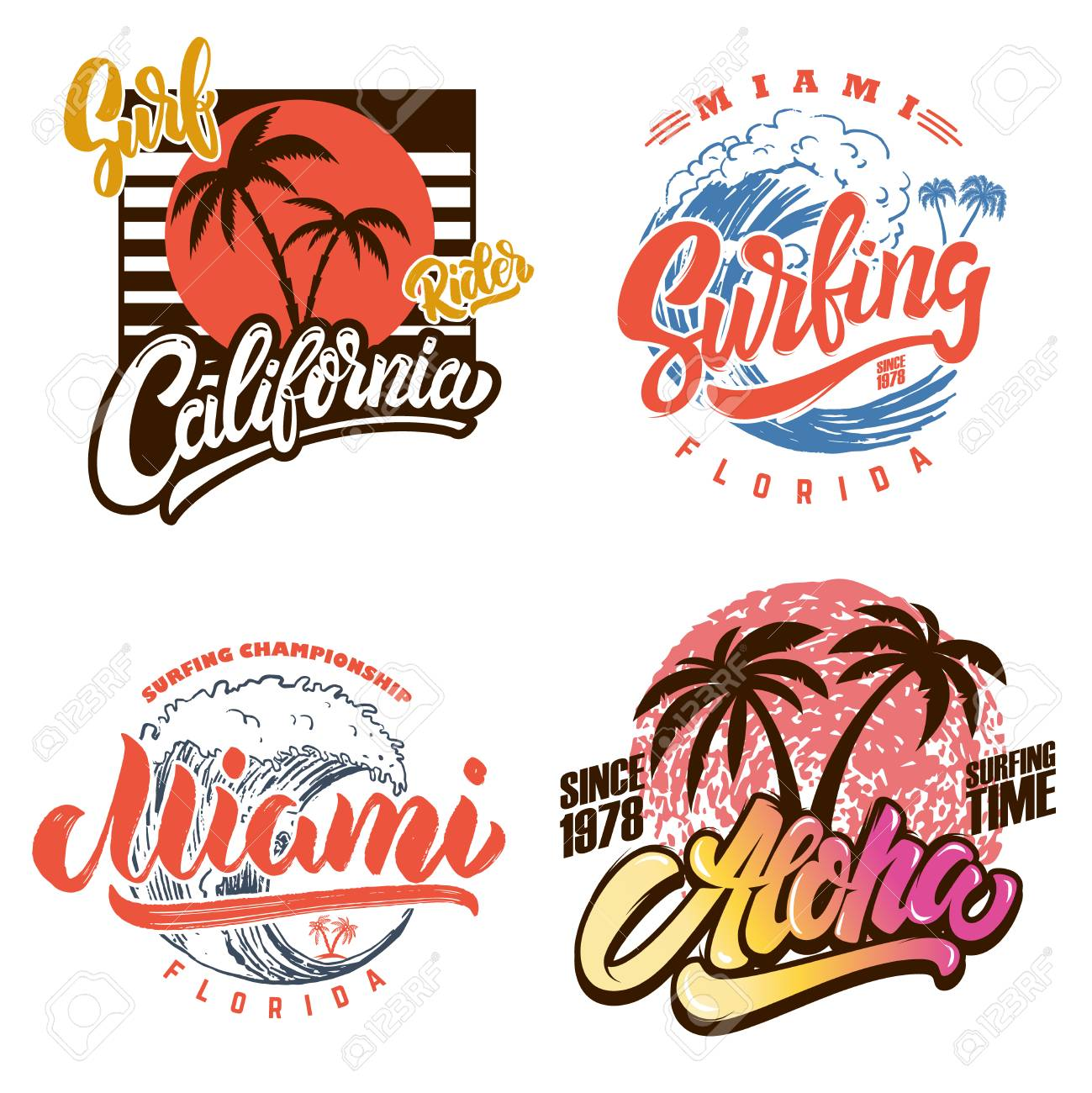 Hawaii surfing club. Miami. Poster templates with lettering and palms. Vector image - 105948494