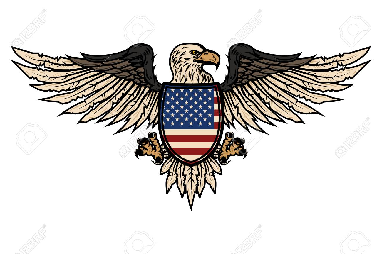 Illustration Of Eagle With American Flag Design Element For Poster