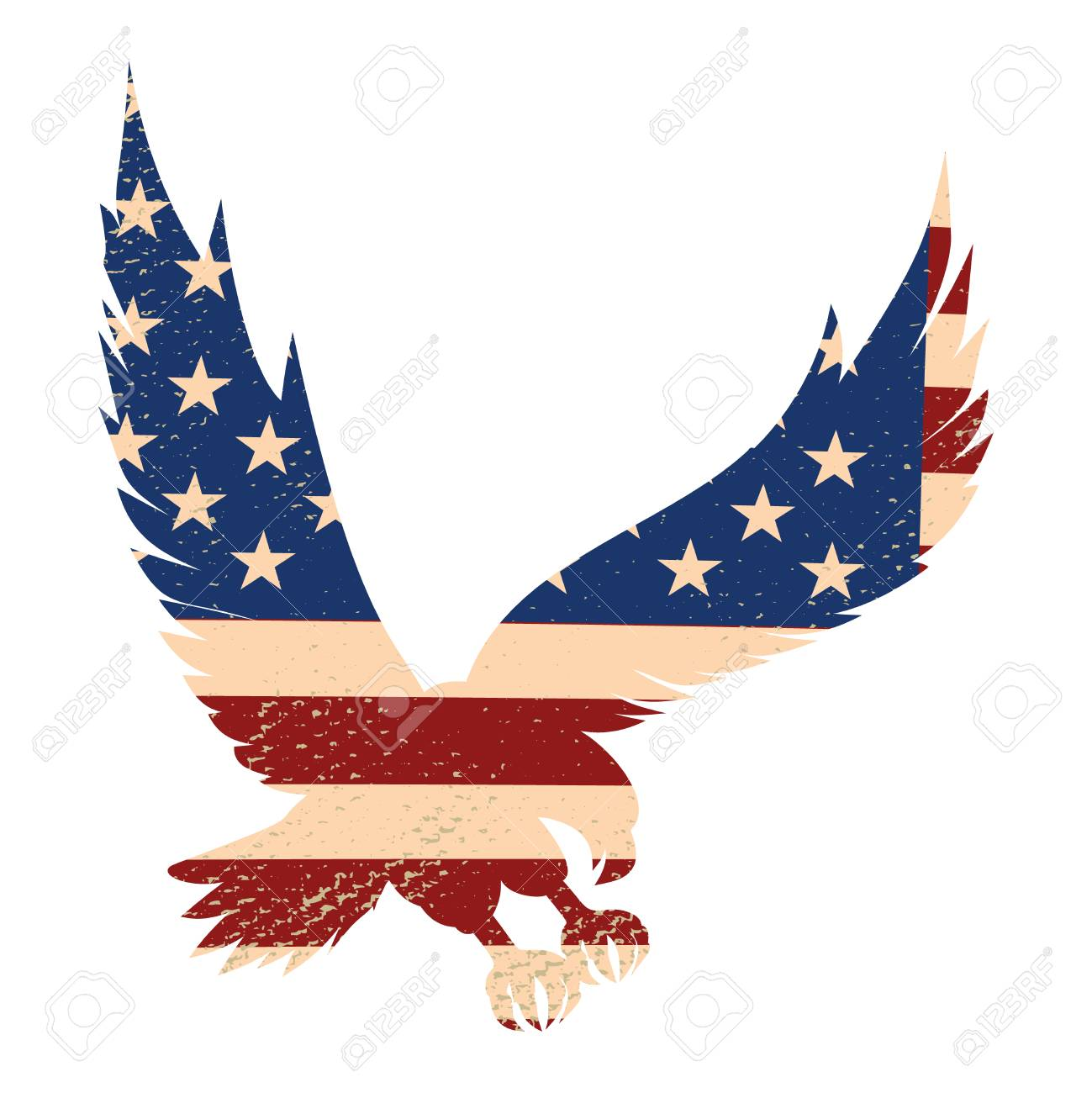 Eagle Silhouette On The Usa Flag Background Design Element For