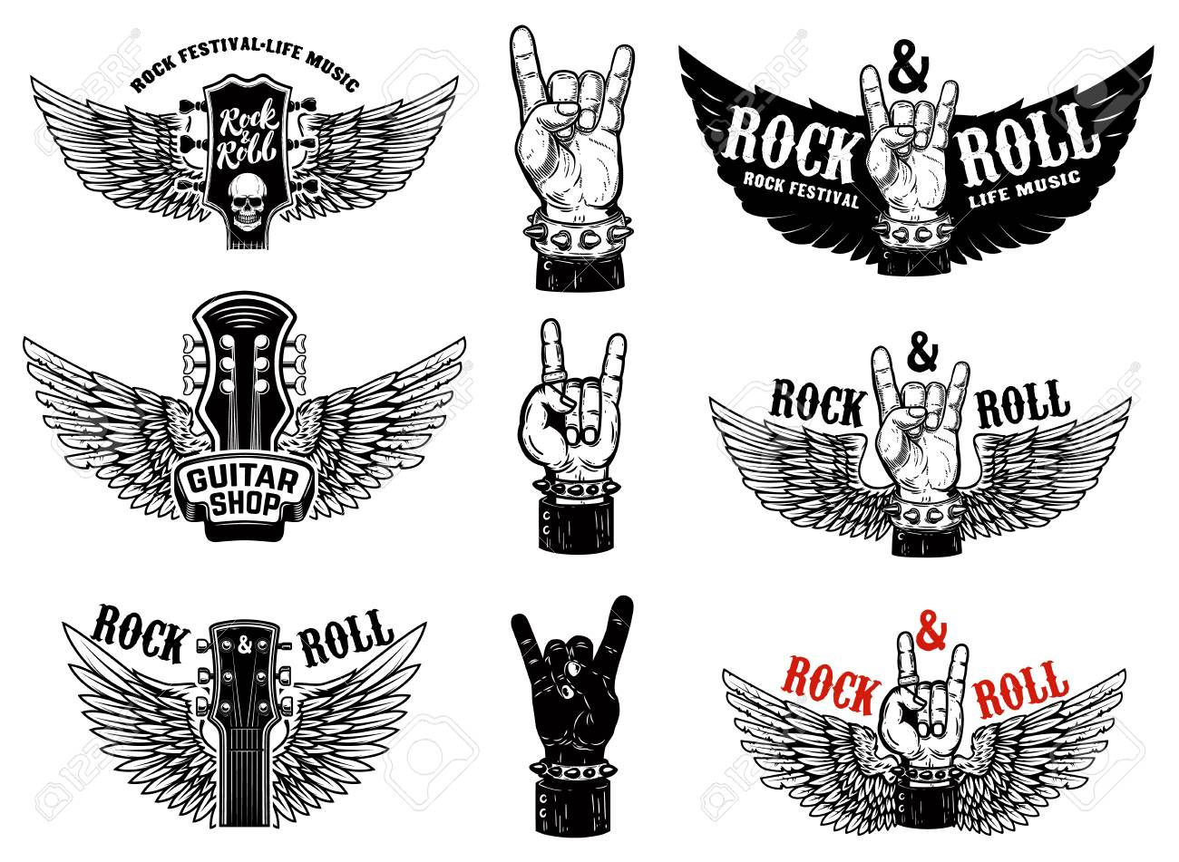 Set of vintage rock music fest emblems. Hand with Rock and roll sign with wings. Design element for logo, label, sign, poster, t shirt. Vector illustration - 109916143