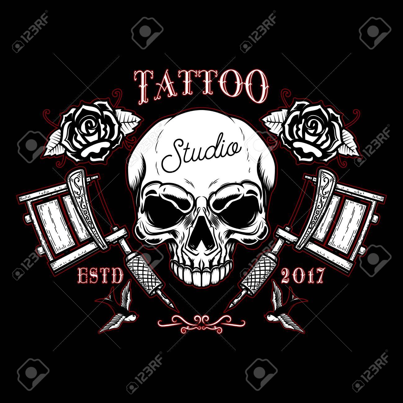 1b47f39d3 tattoo studio emblem template. Crossed tattoo machine, skull. Design  element for logo,