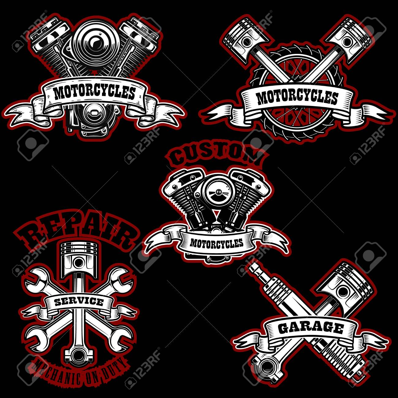 Set Of Motorcycle Repair Emblems Bike Motor Pistons Design Royalty Free Cliparts Vectors And Stock Illustration Image 110864396