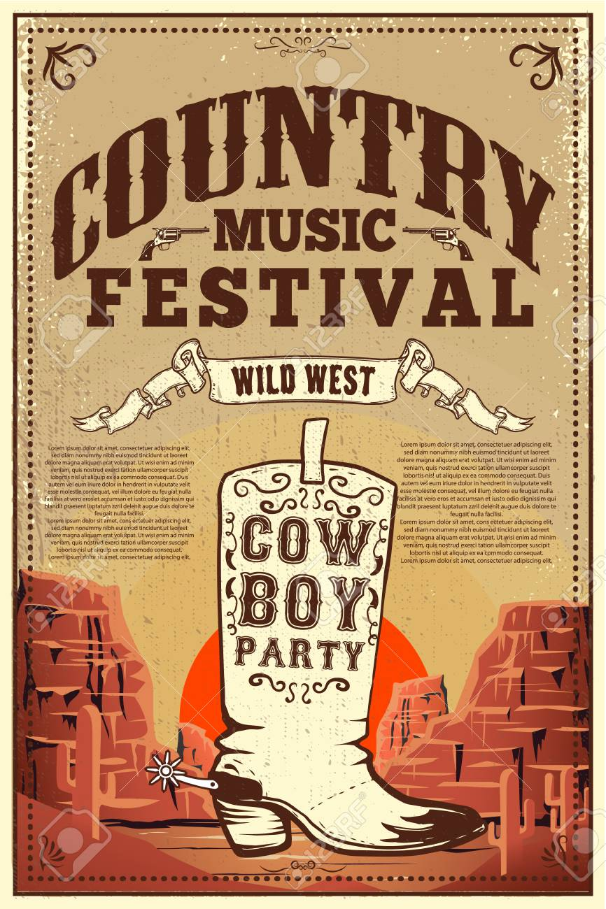 Country Music Festival Poster. Party Flyer With Cowboy Boots... Royalty  Free Cliparts, Vectors, And Stock Illustration. Image 110864397.