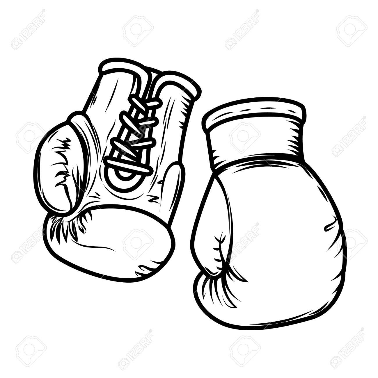 Illustration of boxing gloves. Design elements for logo, label, sign, menu. Vector image - 127509549