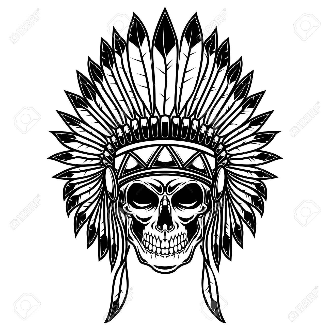 Skull in native american indians headdress. Design element for poster, card, banner, sign, t shirt. Vector illustration - 127143454