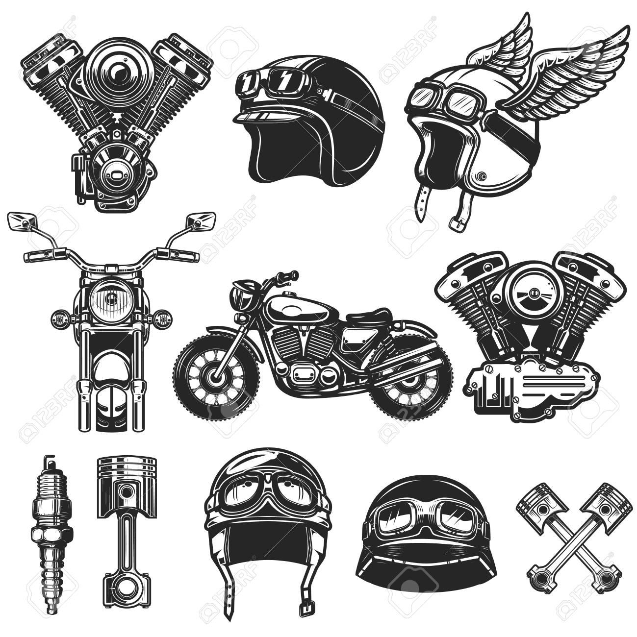 Set of motorcycle design elements. for logo, label, emblem, sign, poster, t shirt. - 114137660
