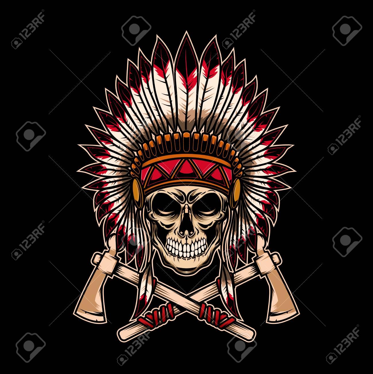 Native indian chief skull with crossed tomahawks on dark background. Design element for logo, label, emblem, sign. Vector illustration - 126631598