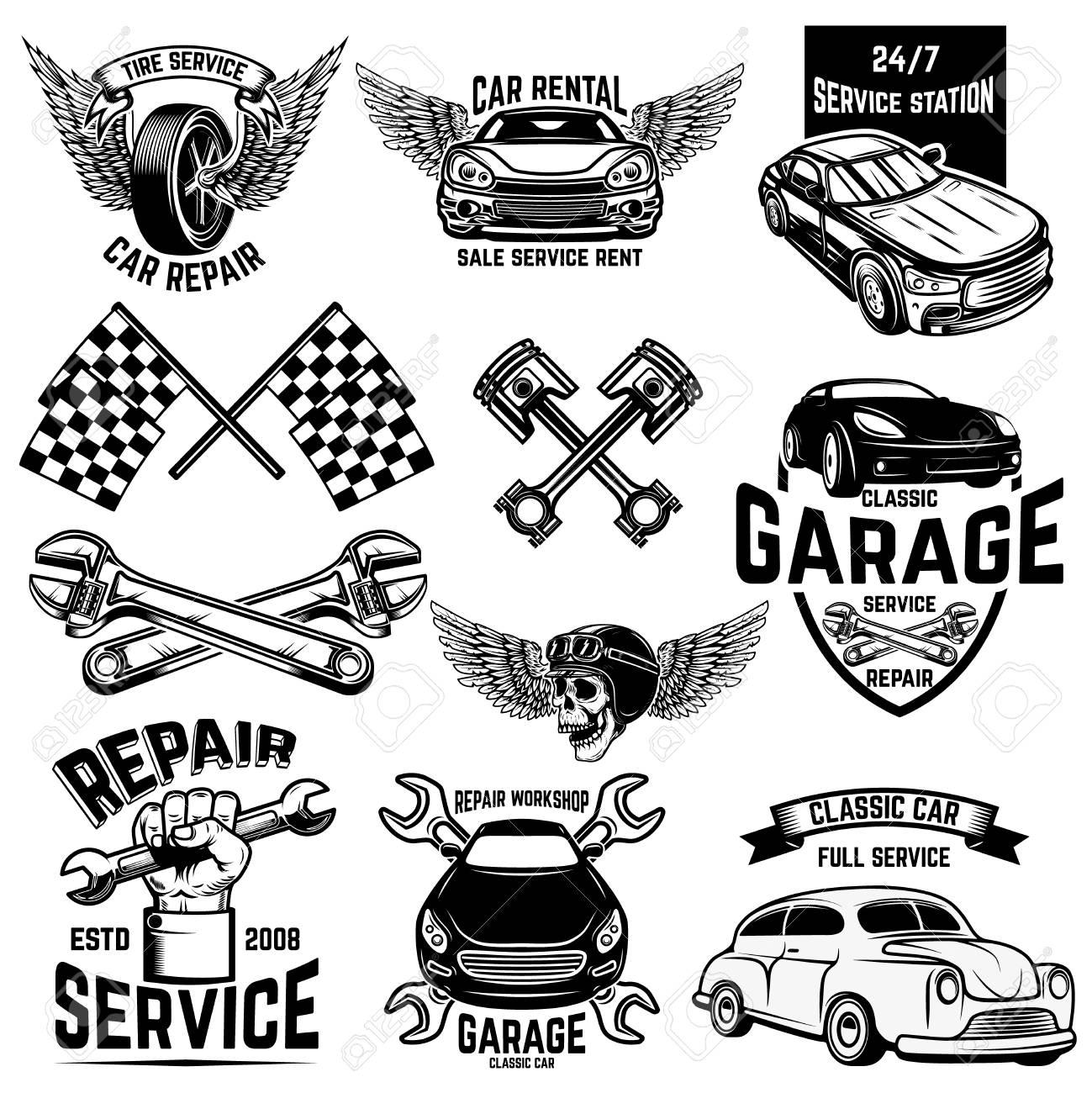 Set of car service station emblems and design elements. For logo, label, sign, banner, t shirt, poster. Vector illustration - 115915340