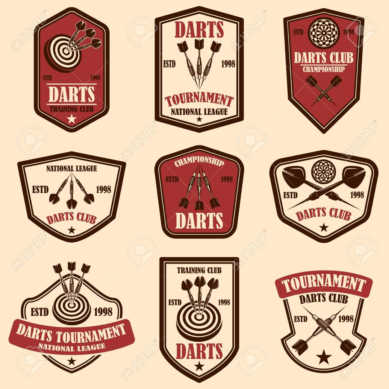 Set of darts club label templates. Design element for logo, label, sign, poster, t shirt. Vector illustration - 123761154