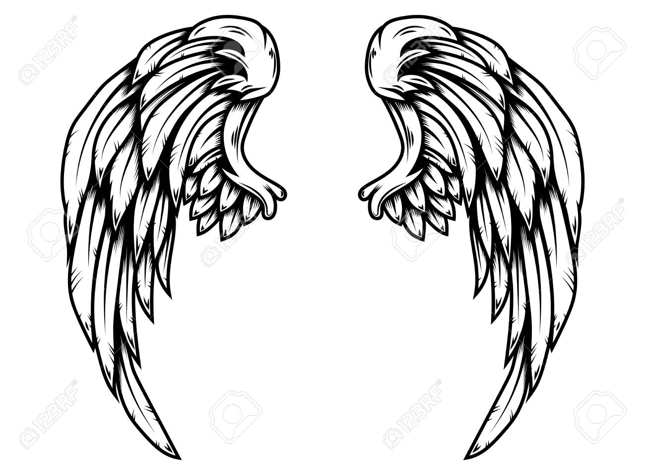 Eagle wings in tattoo style isolated on white background. Design element for poster, t shirt, card, emblem, sign, badge. Vector illustration - 123759263