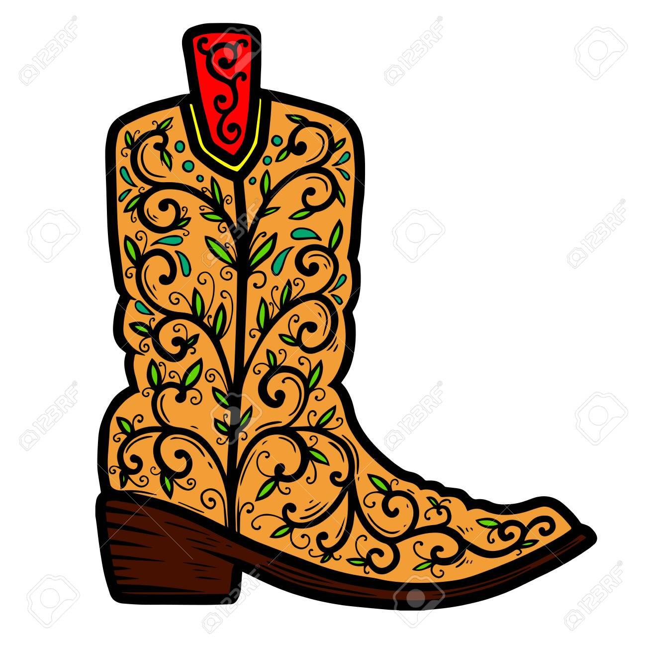Cowboy boot with floral pattern. Design element for poster, t shirt, emblem, sign. - 125980960