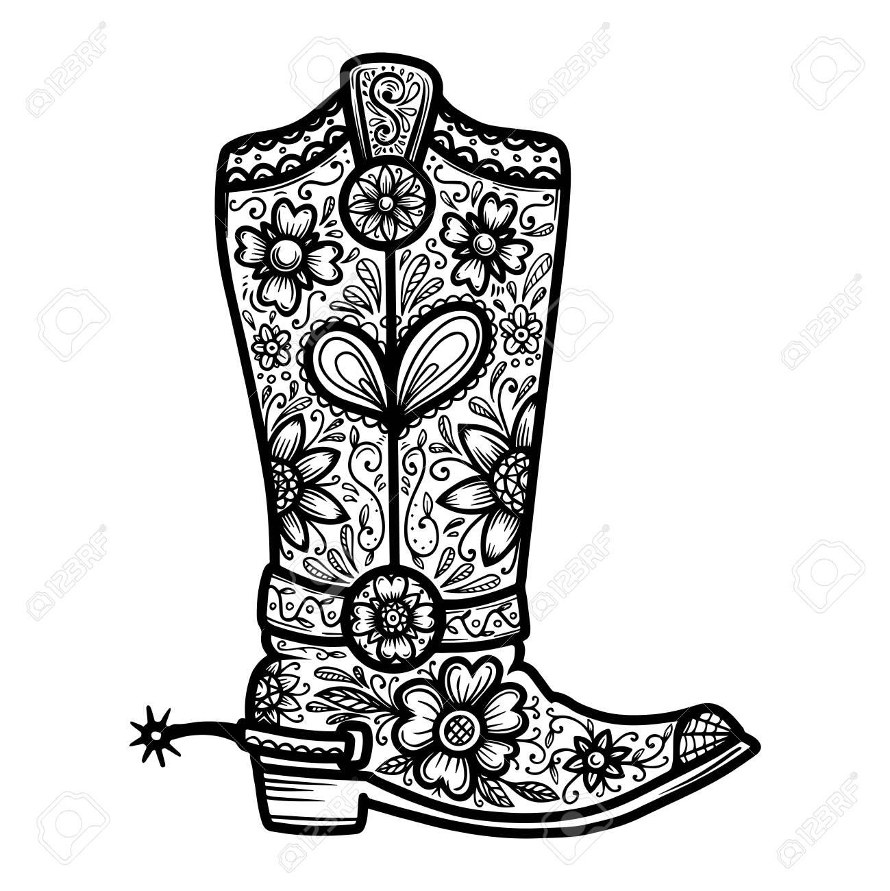 Cowboy boot with floral pattern. Design element for poster, t shirt, emblem, sign. - 125980961