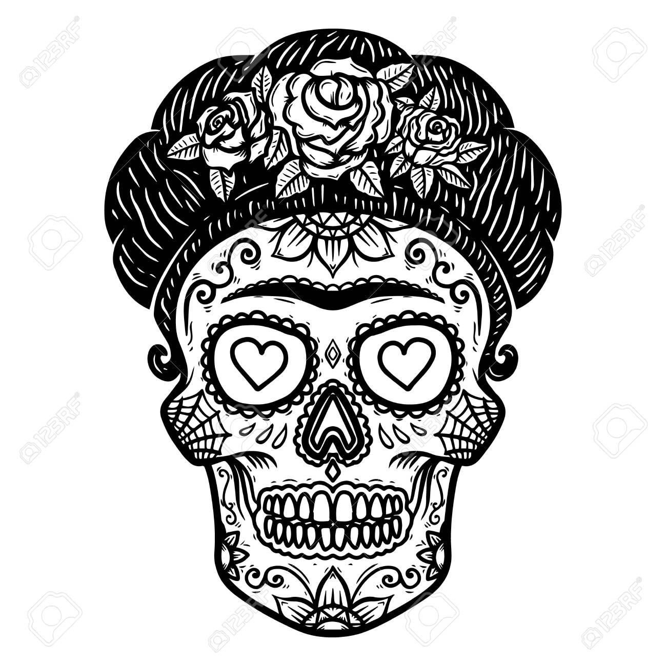 Vintage mexican woman skull isolated on white background. Design element for label, sign, poster. Vector illustration - 144753254