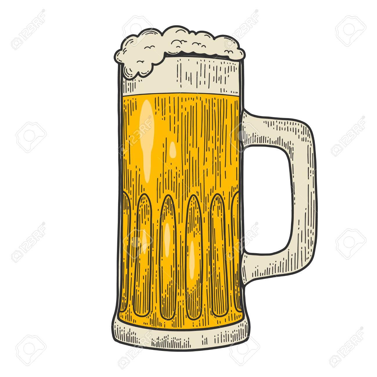 Illustrations of mug of beer in engraving style. Design element for label, emblem, sign. Vector illustration - 147083751