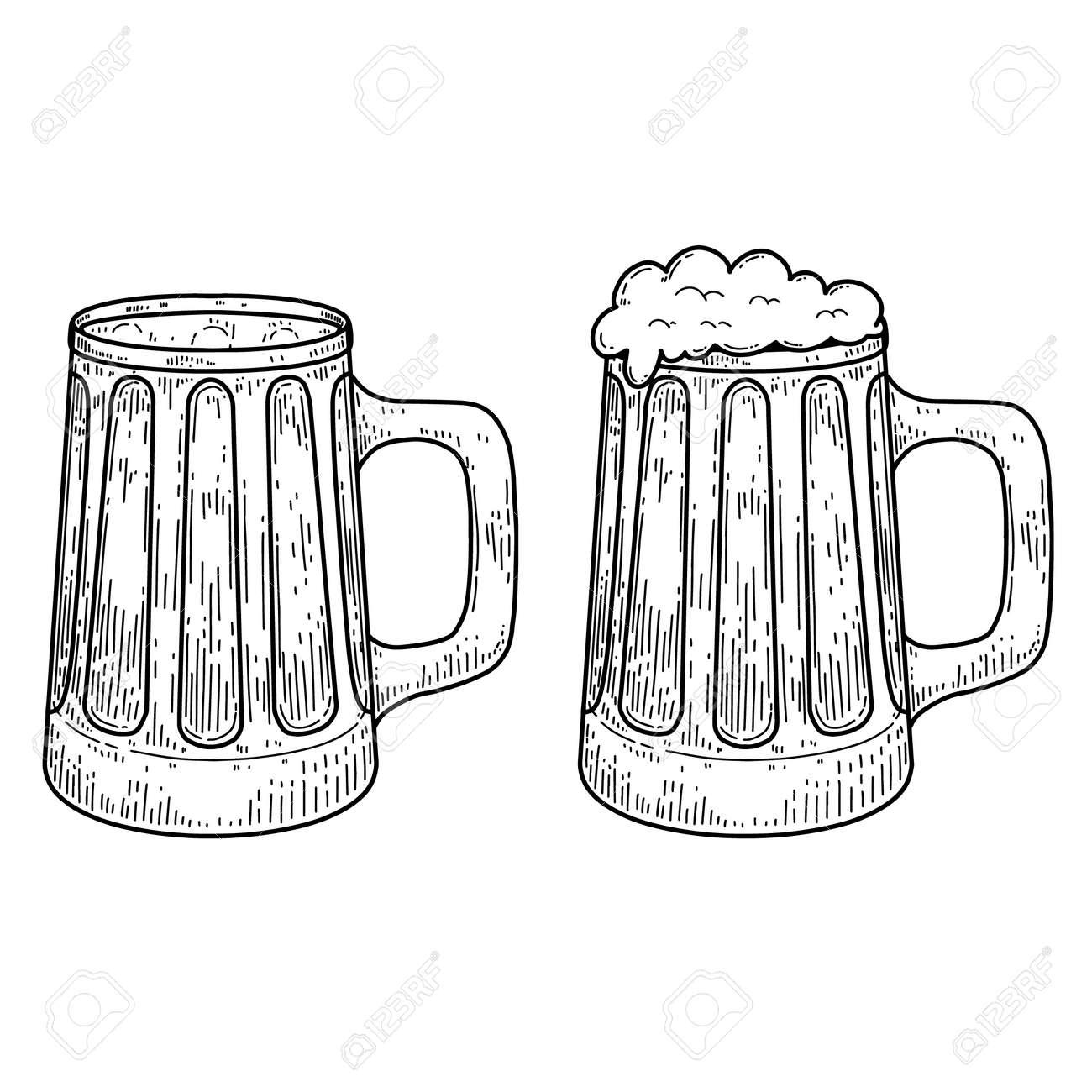 Vintage illustration of mug of beer in engraving style. Design element for label, emblem, sign. Vector illustration - 149876925