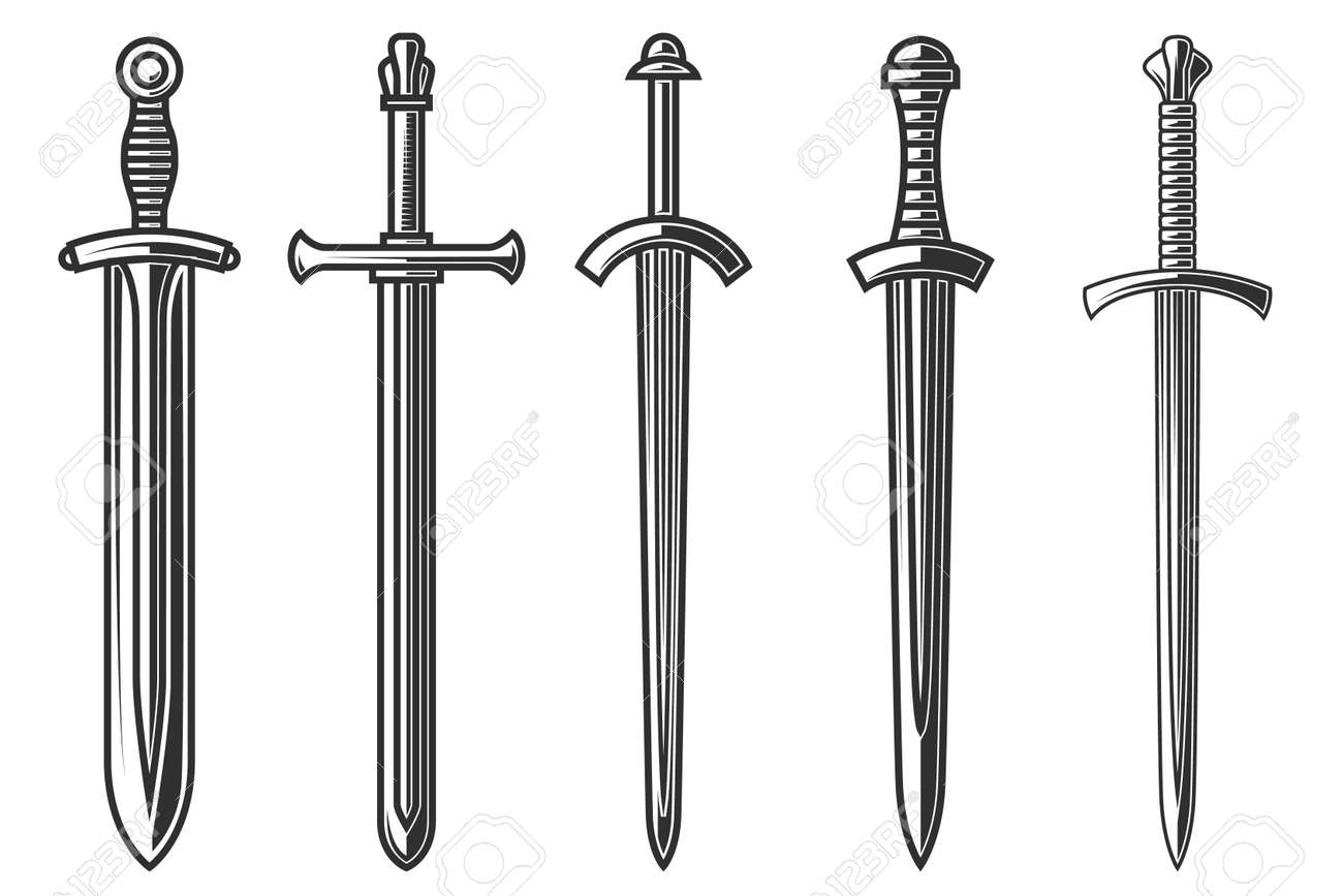 Set of illustrations of ancient swords in engraving style. - 154399708