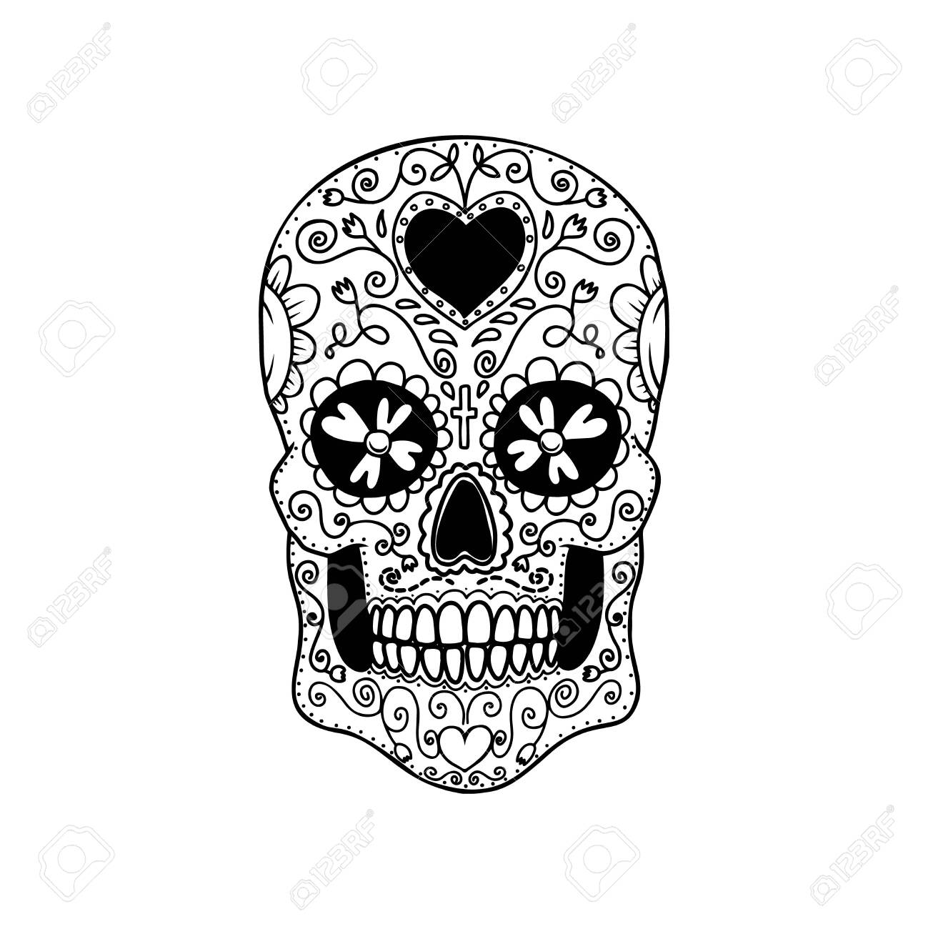 Illustration of mexican sugar skull. Design element for logo, emblem, sign, poster, card, banner. Vector illustration - 157295288