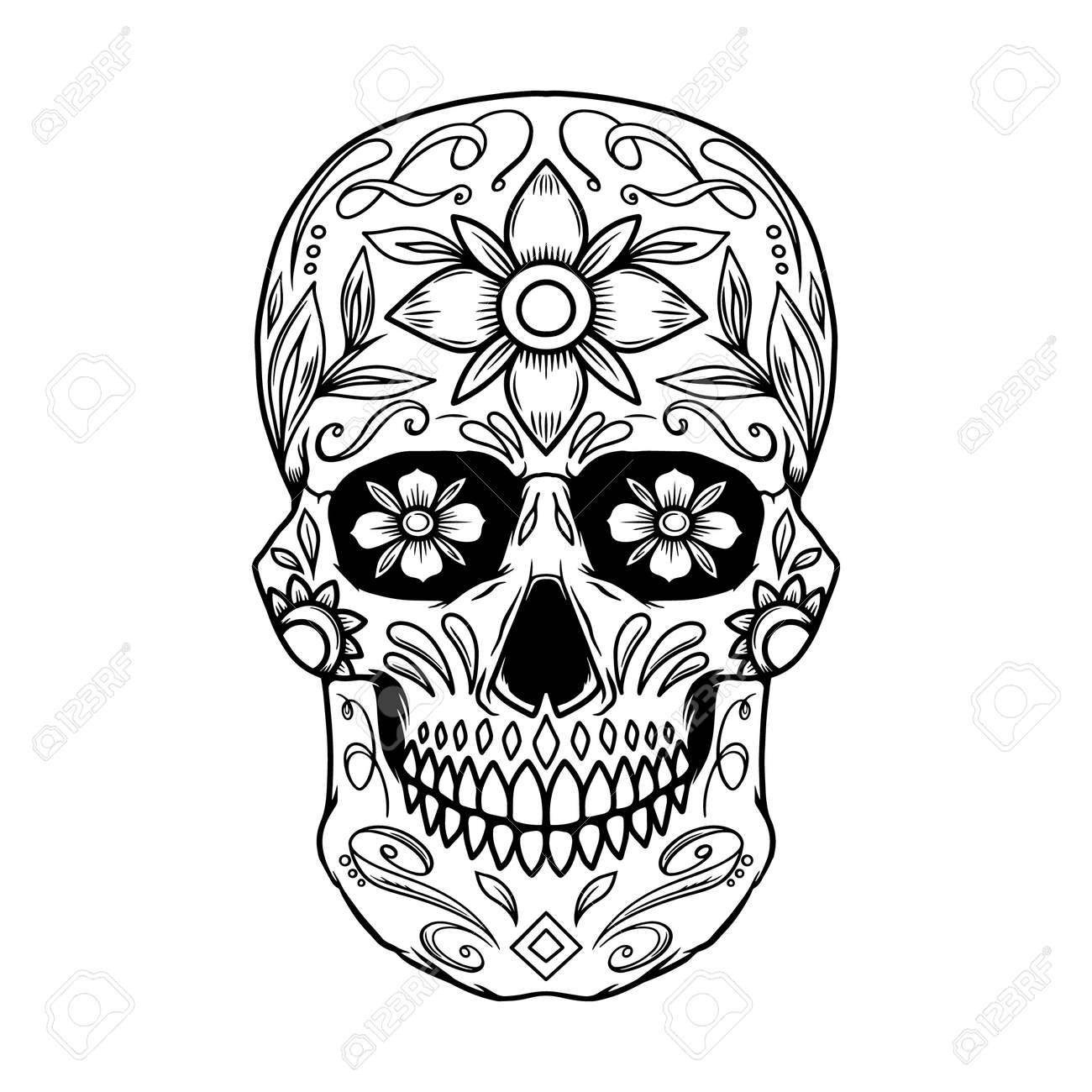 Illustration of mexican sugar skull. Design element for logo, emblem, sign, poster, card, banner. Vector illustration - 157295795