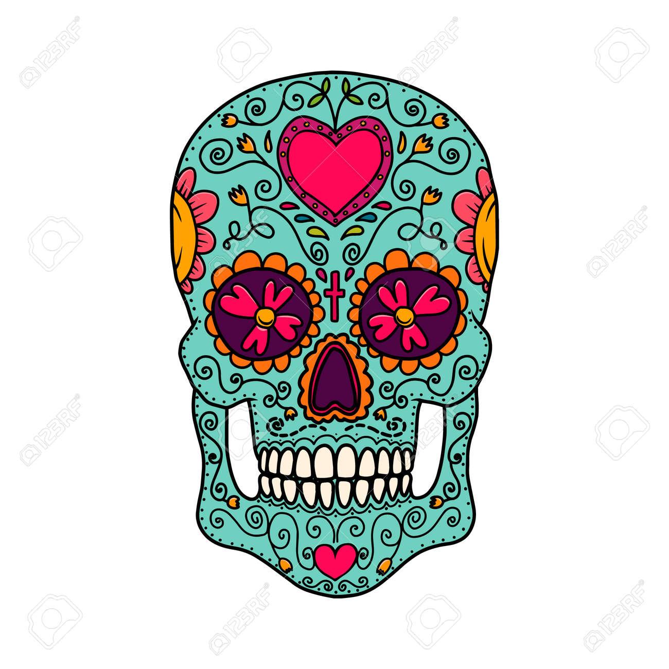 Illustration of mexican sugar skull. Design element for logo, emblem, sign, poster, card, banner. Vector illustration - 157295797