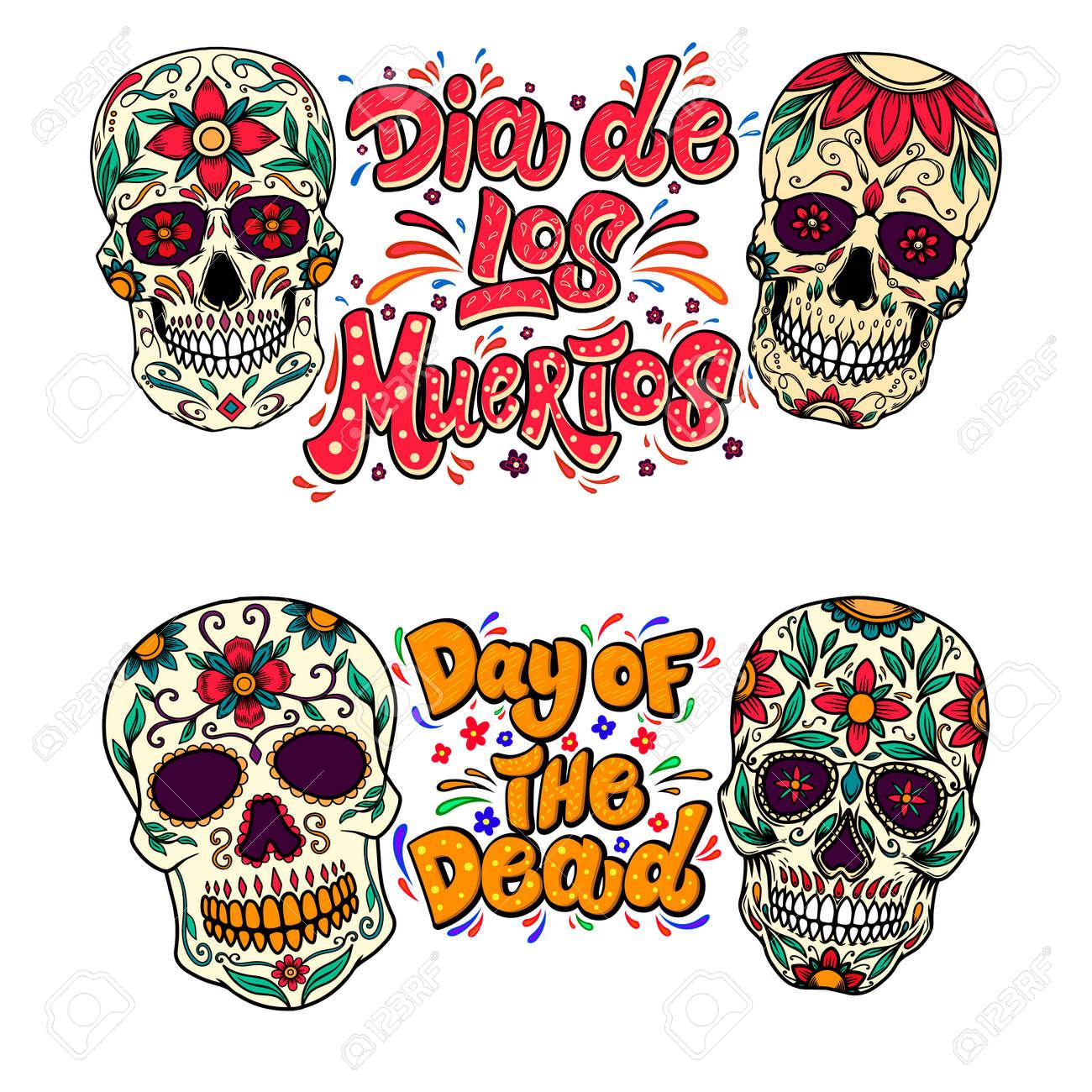Dia de los muertos (Day of the dead). Lettering phrase with sugar skulls illustrations. Design element for flyer, emblem, sign, poster, card, banner. Vector illustration - 159495230