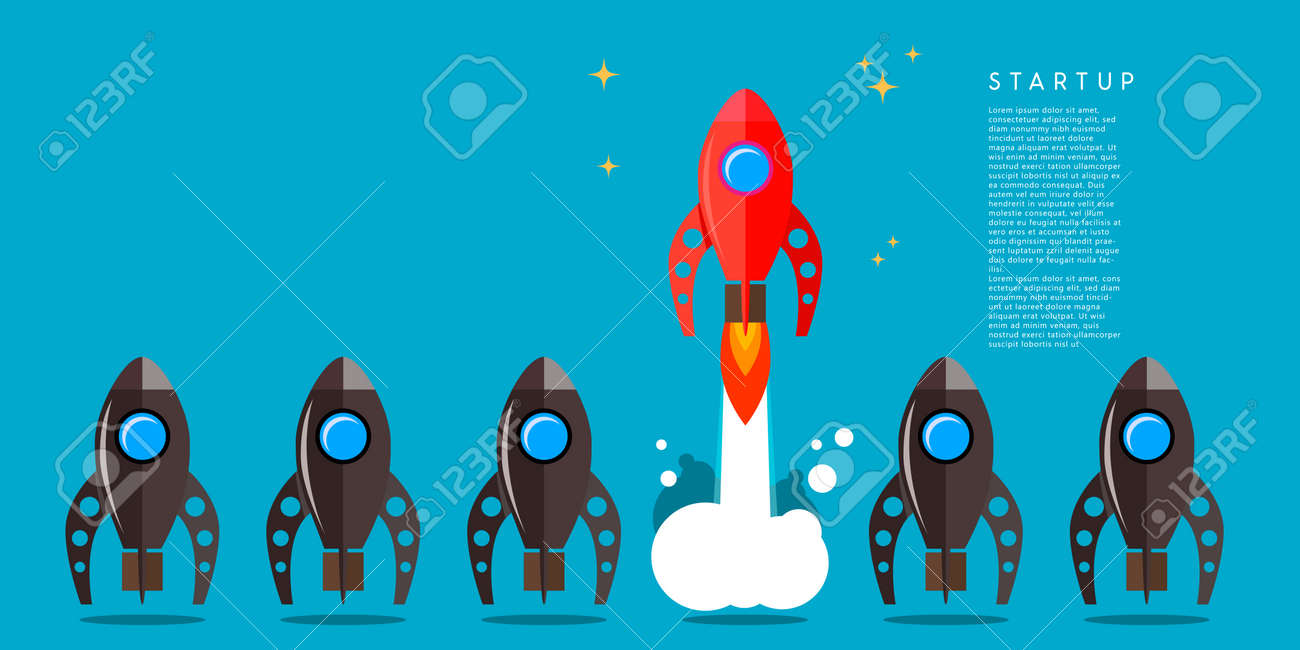 Rocket launch. Business startup concept. Design element for poster, card, banner, sign. Vector illustration - 169916595