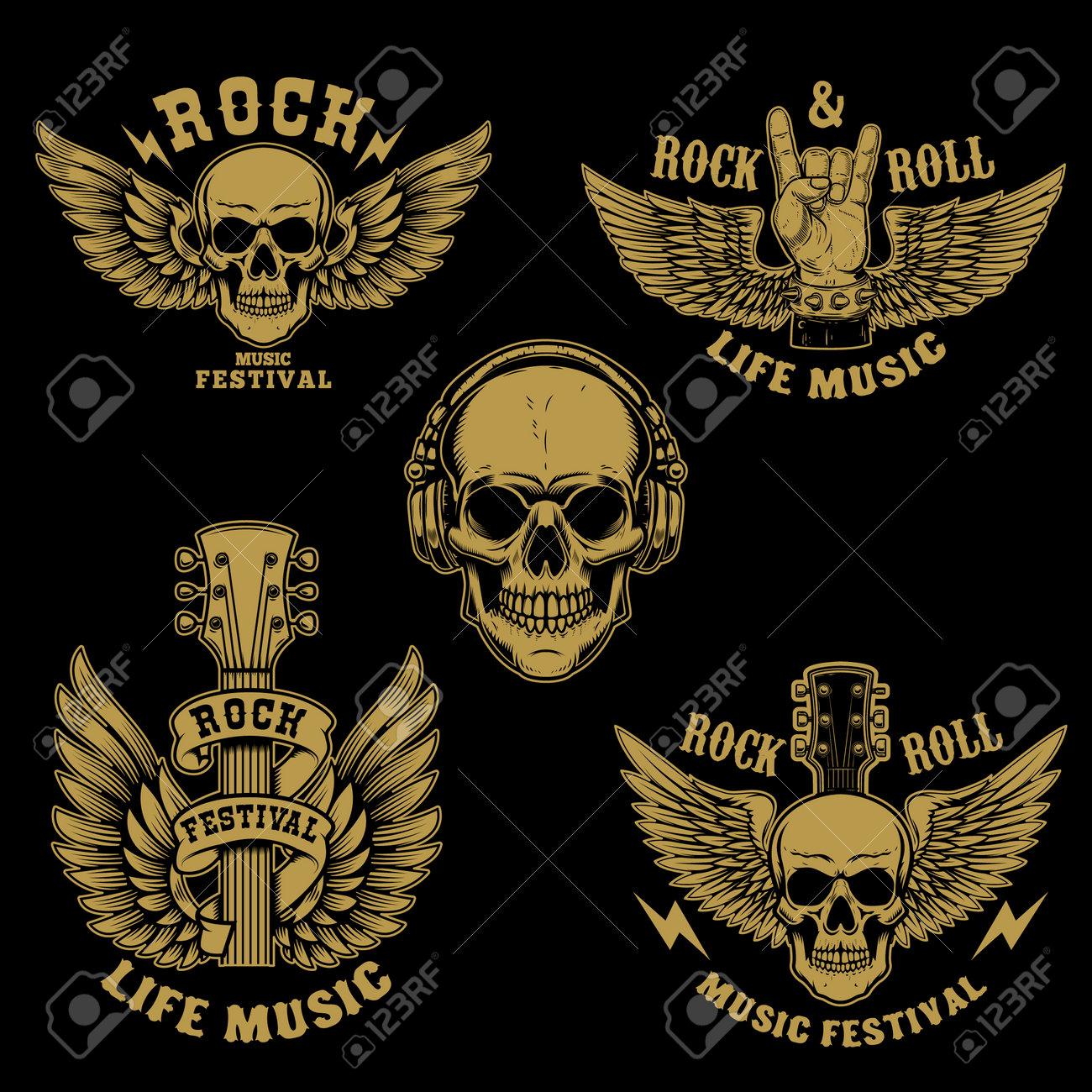 Set of rock and roll emblems.Winged rock guitar. Design element for poster, card, banner, sign, logo. Vector illustration - 169916600