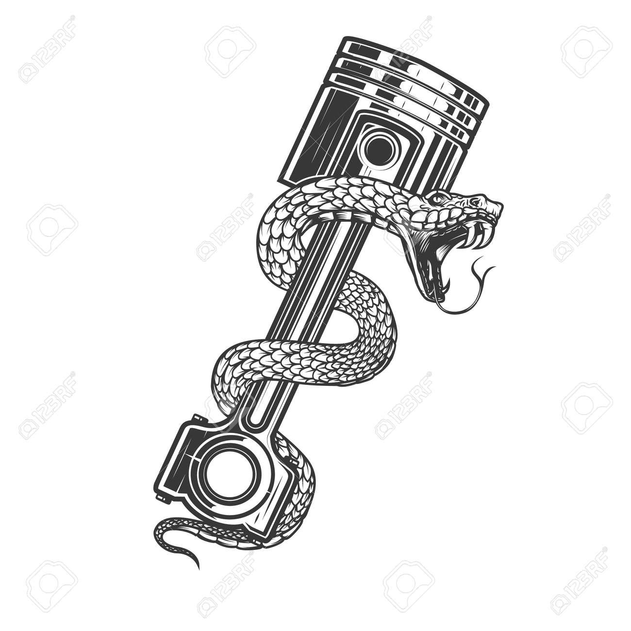 Illustration of snake on car piston. Design element for poster, card, banner, sign. Vector illustration - 170095961