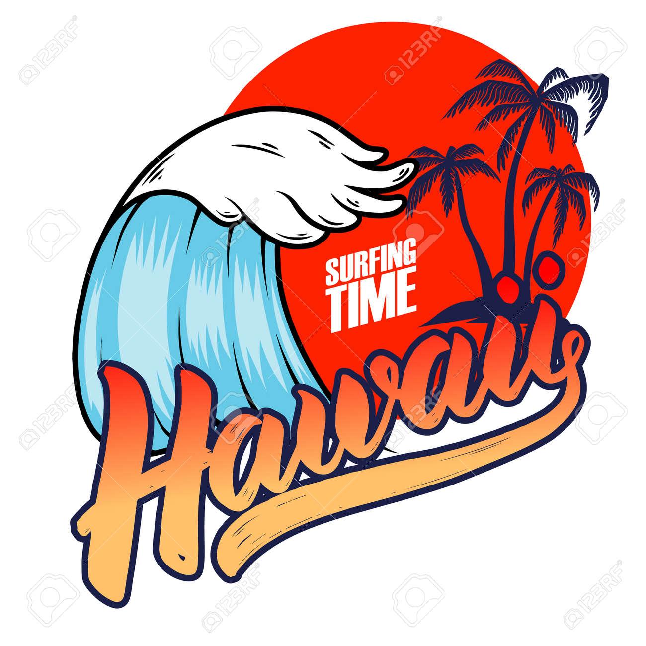 Hawaii. Emblem template with sea waves and palms. Design element for poster, card, banner, sign, emblem. Vector illustration - 170096243