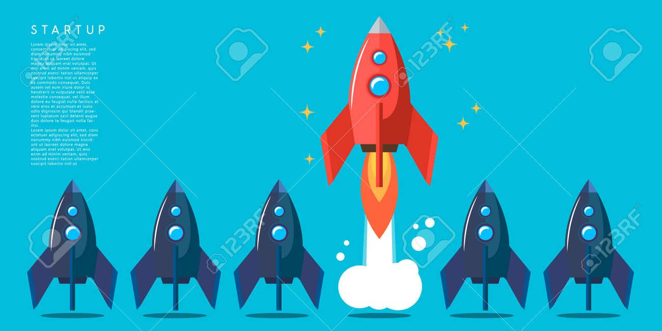 Rocket launch. Business startup concept. Design element for poster, card, banner, sign. Vector illustration - 170554425