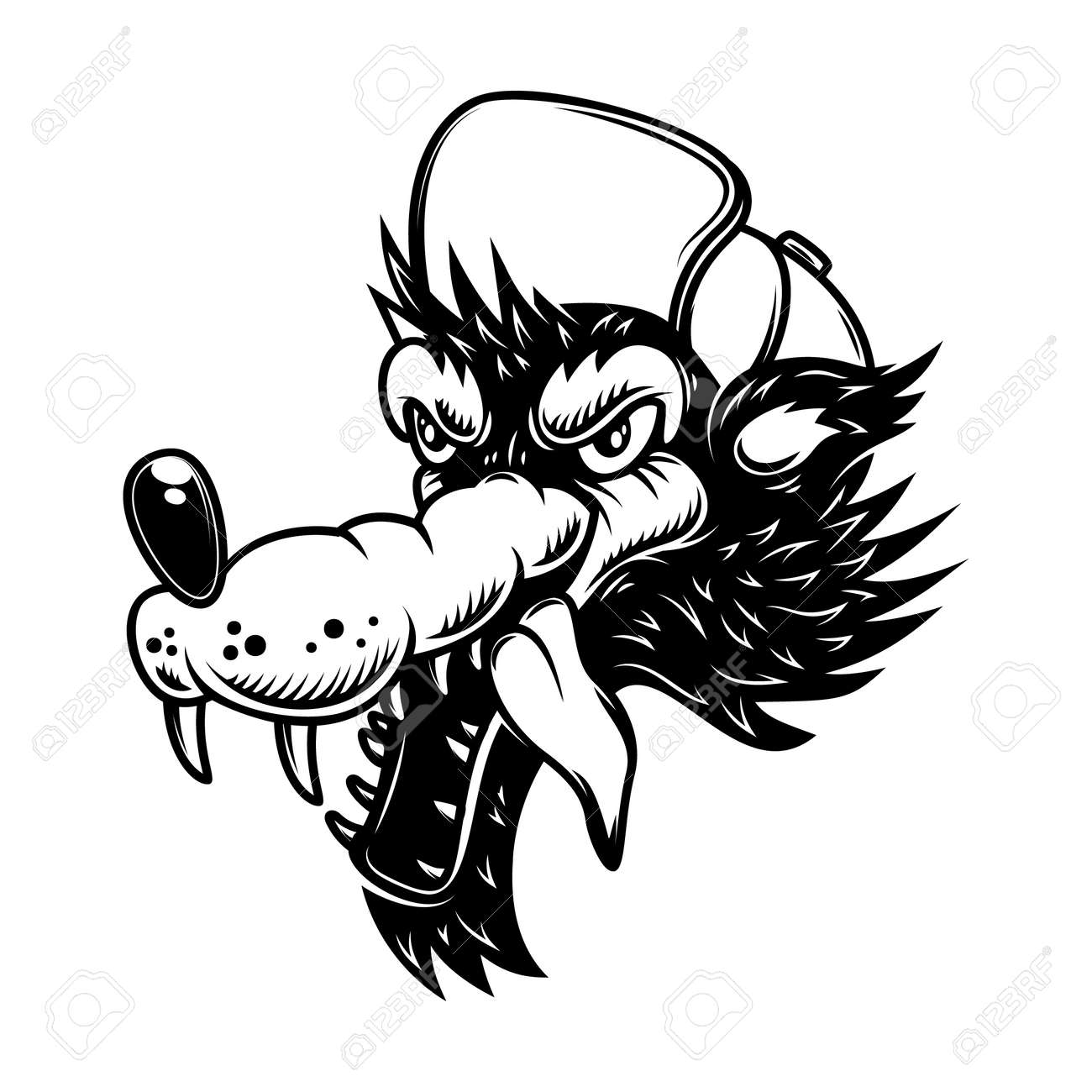 Illustration of cartoon wolf in baseball cap. Design element for poster, card, banner, sign . Vector illustration - 170554431