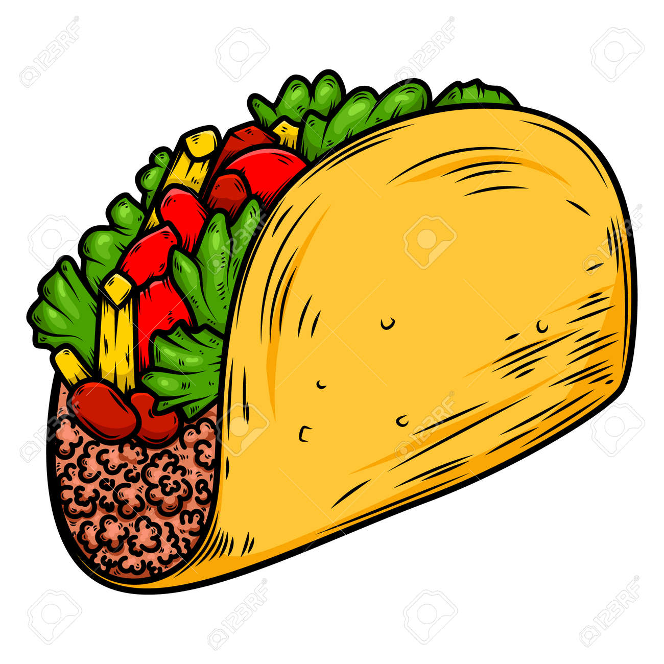 Illustration of delicious taco. Design element for poster, card, banner, sign. - 170554441