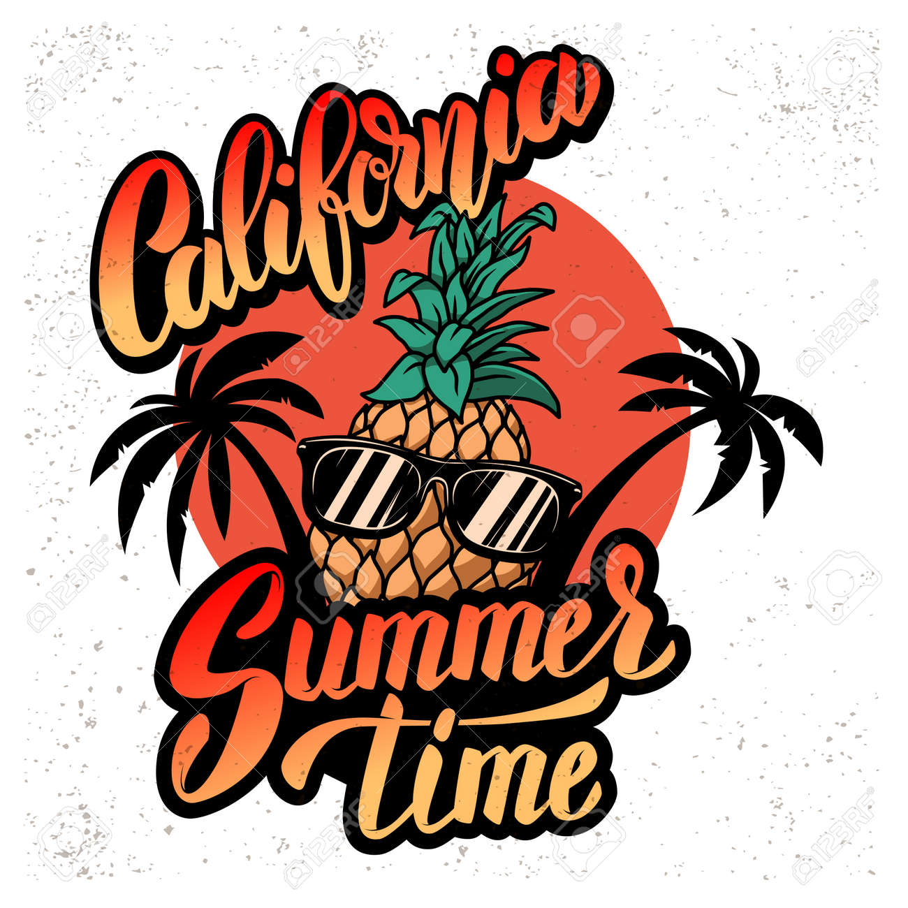 California summer time. Emblem template with pineapple, waves and palms. Design element for poster, card, banner, sign, emblem. Vector illustration - 170554436