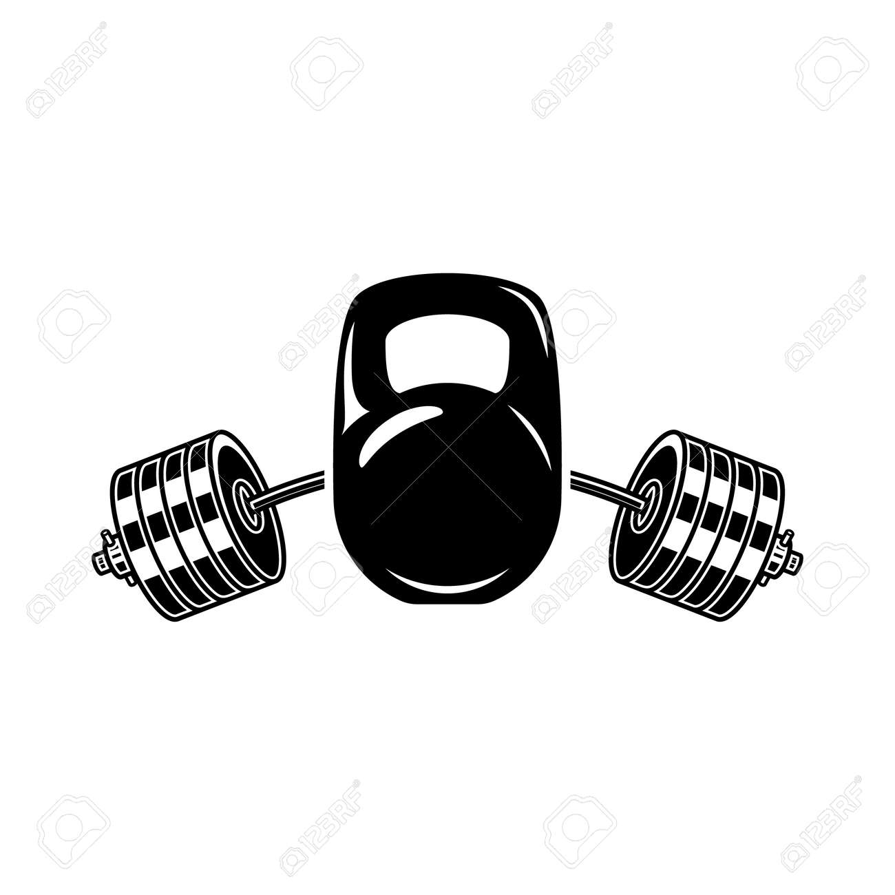 Illustration of kettle bell and barbell. Design element for label, sign, emblem, poster. Vector illustration - 170554480