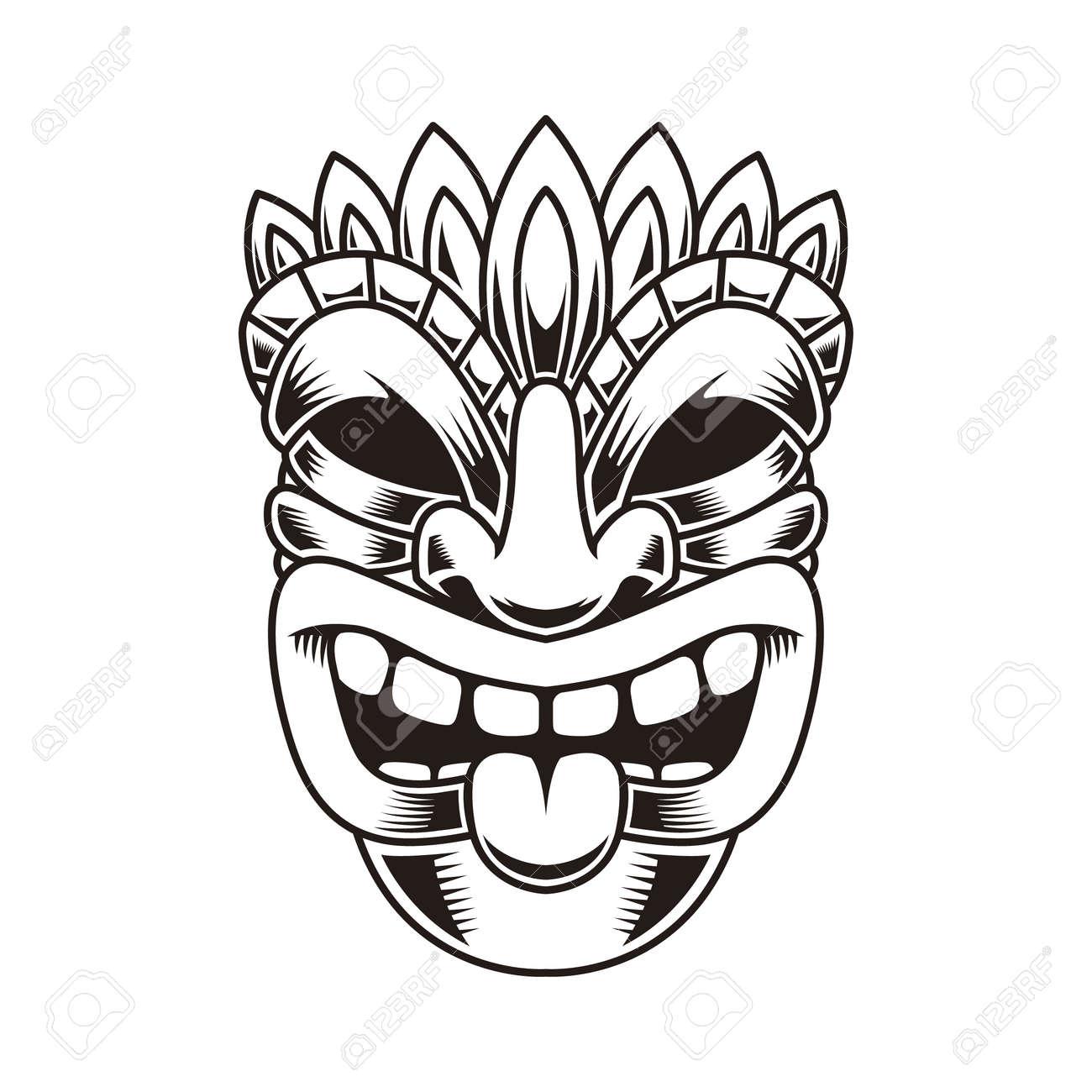 Illustration of tiki idol. Design element for label, sign, poster. Vector illustration - 170554482