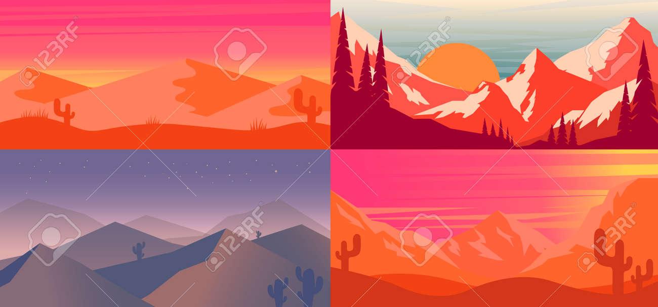 Set of cartoon desert landscape in flat style. Design element for poster, card, banner, flyer. Vector illustration - 170554486