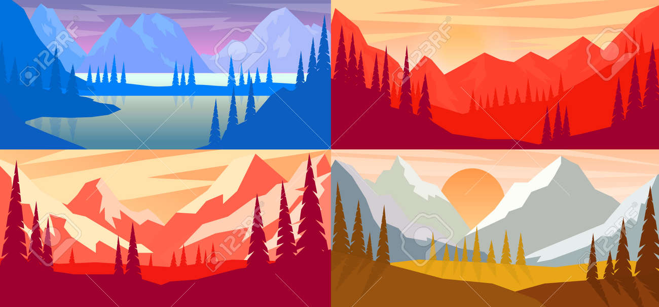 Set of cartoon mountain landscape in flat style. Design element for poster, card, banner, flyer. Vector illustration - 170554487