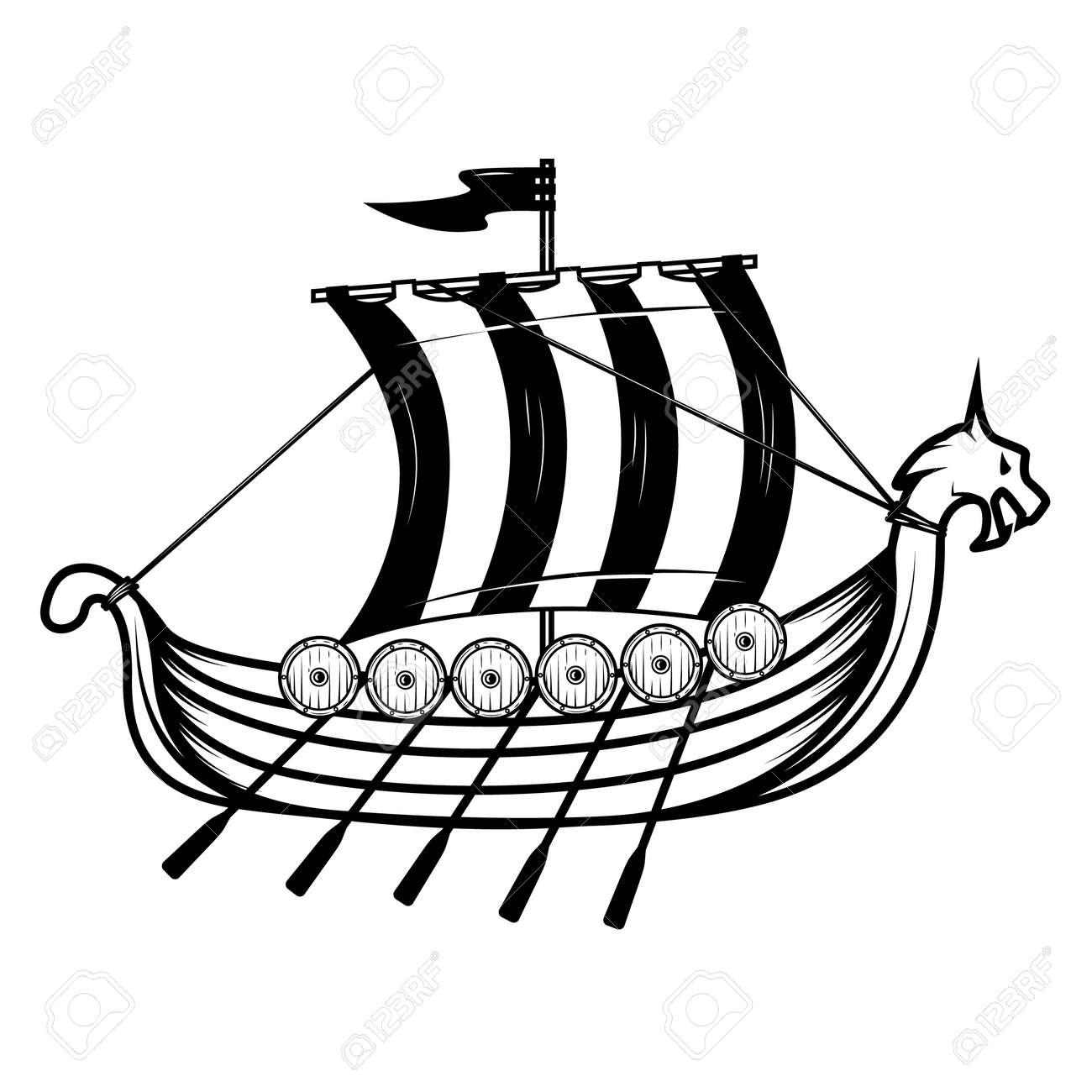 Vikings ship. Drakkar. Design element for poster, emblem, sign. Vector illustration - 171212871