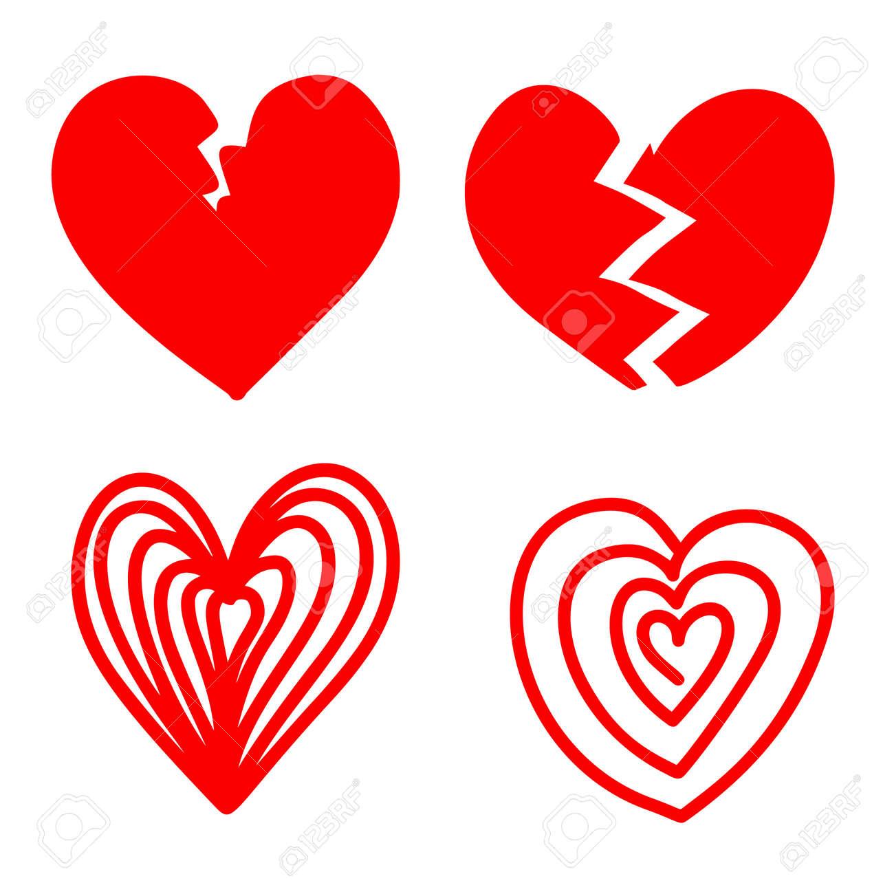 Set of illustrations of doodle hearts. Design element for poster, card, banner, sign, emblem. Vector illustration - 171212878