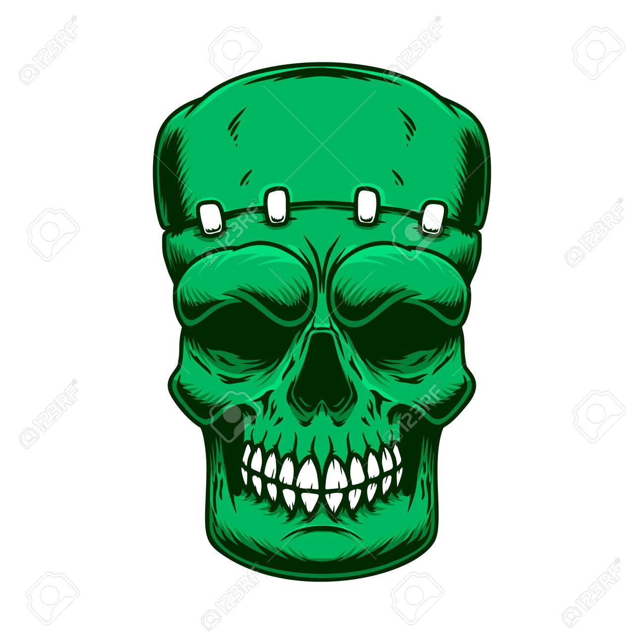 Illustration of the skull of frankenstein monster in engraving style. Design element for poster, card, banner, sign. Vector illustration - 171212915