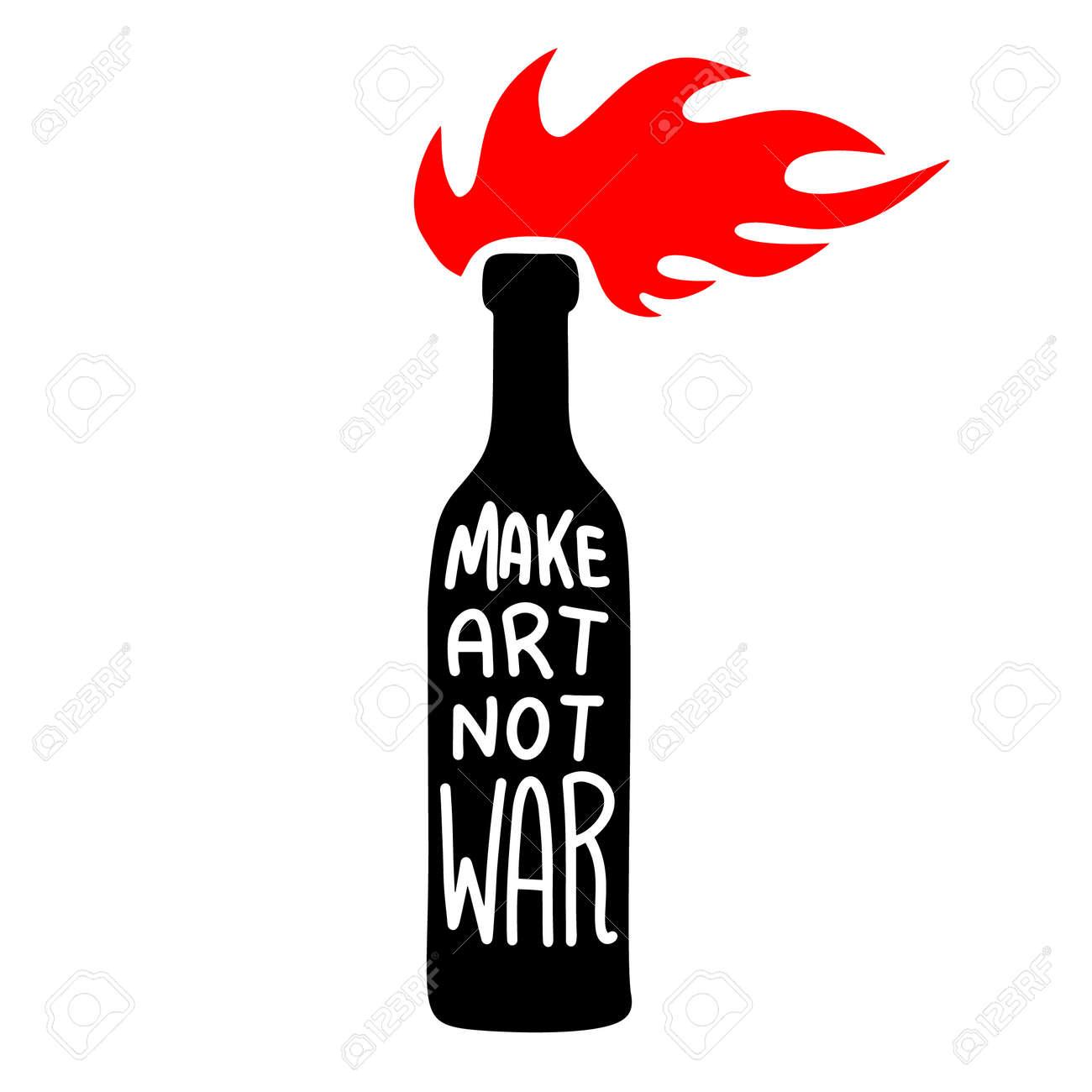 Illustration of bottle with molotov cocktail. Make art not war. Design element for logo, label, sign, emblem, poster. Vector illustration - 171625068
