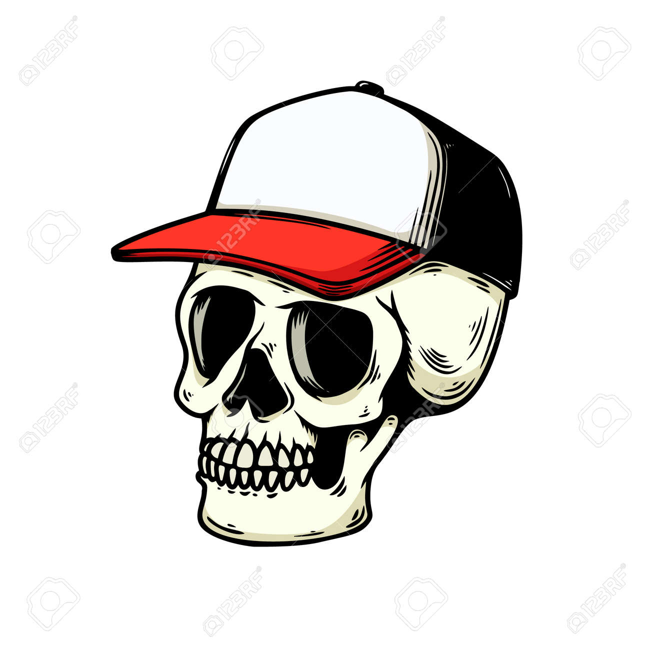 Illustration of human skull in baseball cap isolated on white background. Design element for logo, label, sign, emblem, poster. Vector illustration - 171625071