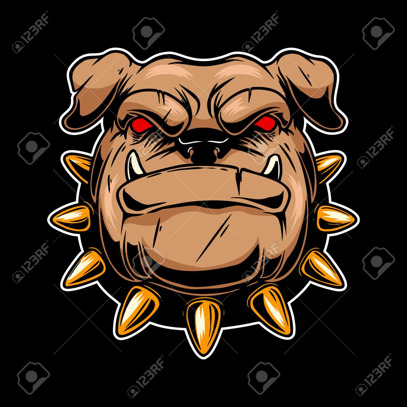 Illustration of angry bulldog head. Design element for logo, label, sign, emblem, poster. Vector illustration - 171625077