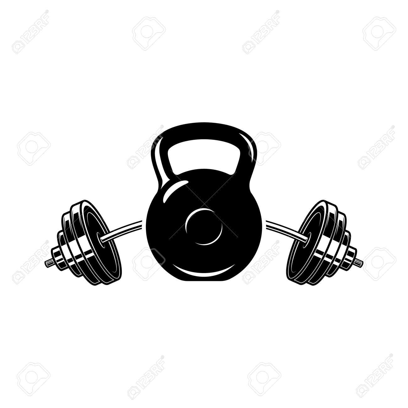 Illustration of kettlebell and barbell. Design element for logo, label, sign, emblem, poster. Vector illustration - 171625079