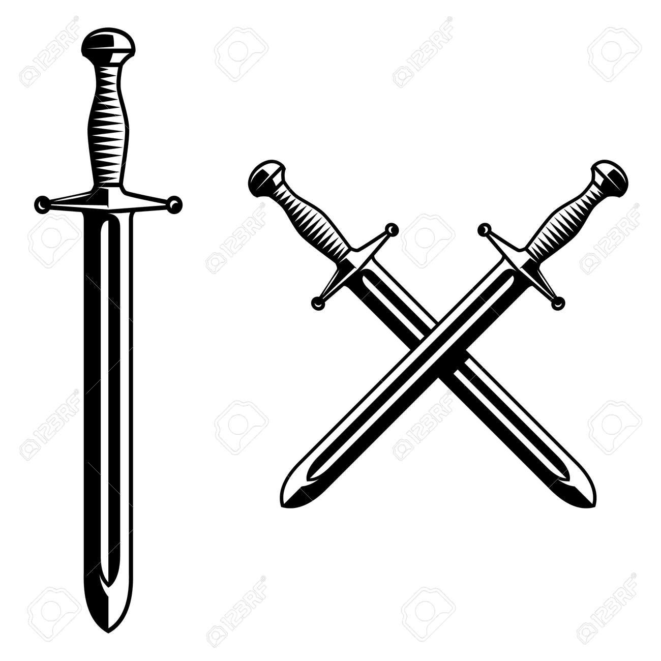 Illustration of knight swords in monochrome style. Design element for logo, label, sign, poster. Vector illustration - 171625094
