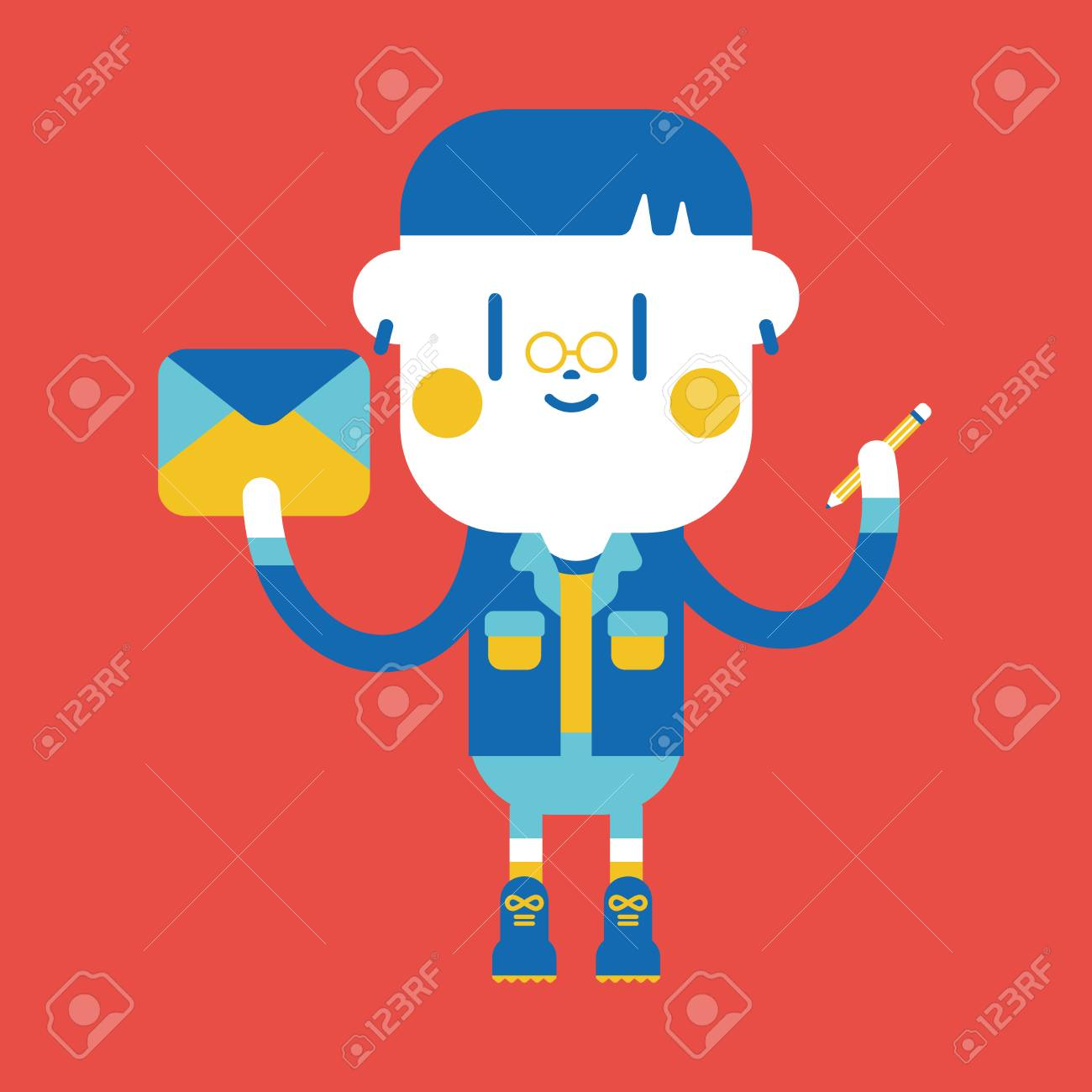 Character Illustration Design Boy Writing Letter Cartoon Royalty