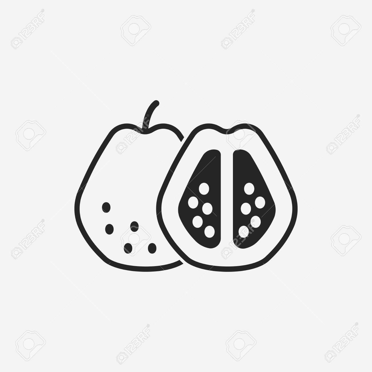 Fruits Guava Icon Stock Vector